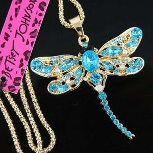 NWT Betsey Johnson Blue Dragonfly Necklace